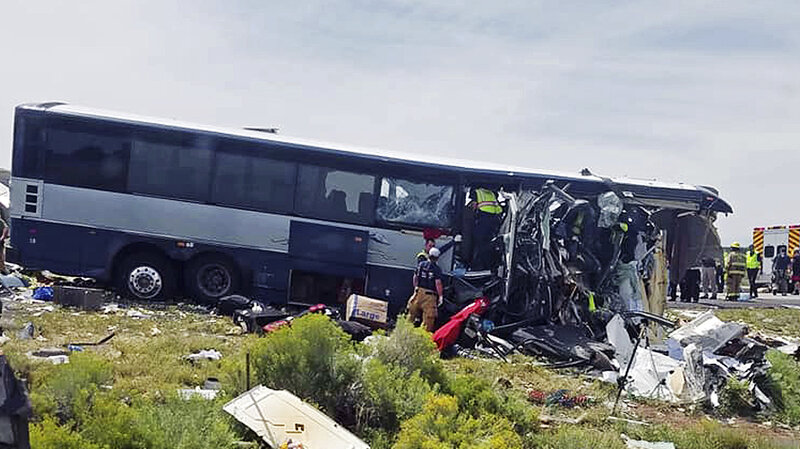 greyhound bus semitruck crash head on in new mexico at least 7