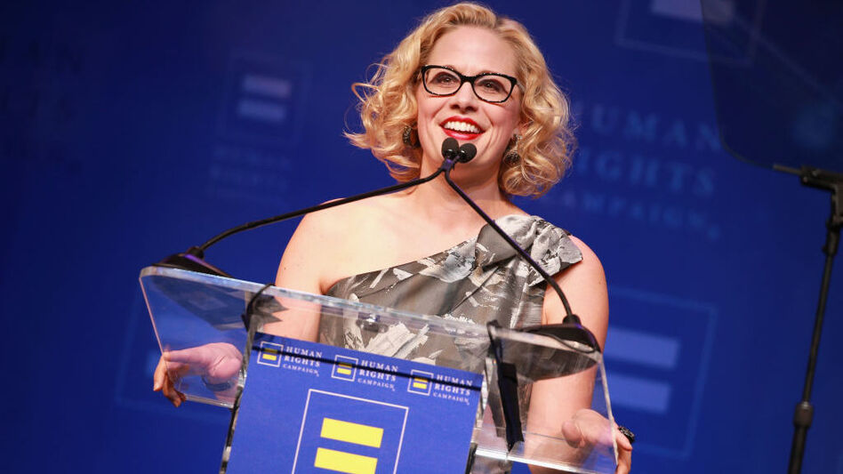 Rep. Kyrsten Sinema, D-Ariz., speaks onstage at The Human Rights Campaign 2018 Los Angeles Gala Dinner at JW Marriott Los Angeles earlier this year. She's running this year for Senate, aiming to be just the second LGBTQ person elected to that body. (Rich Fury/Getty Images)