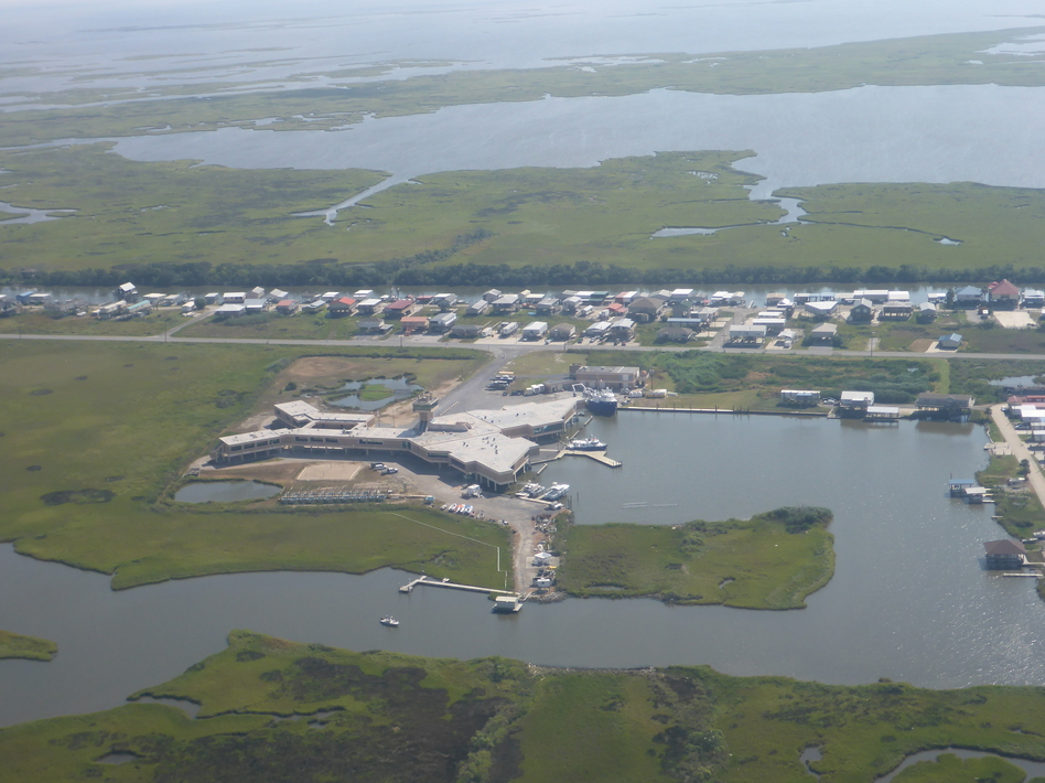 Many coastal research labs, like the Louisiana Universities Marine Consortium, face increased flooding from rising seas. (Alex Kolker/South Wings)