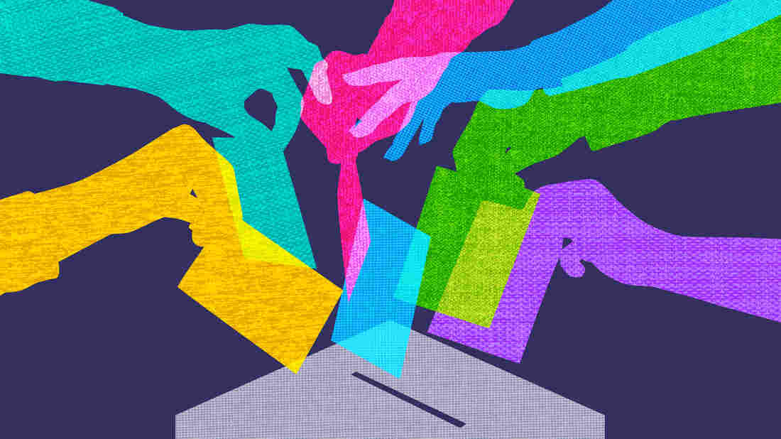Colourful overlapping silhouettes of hands voting in fabric texture