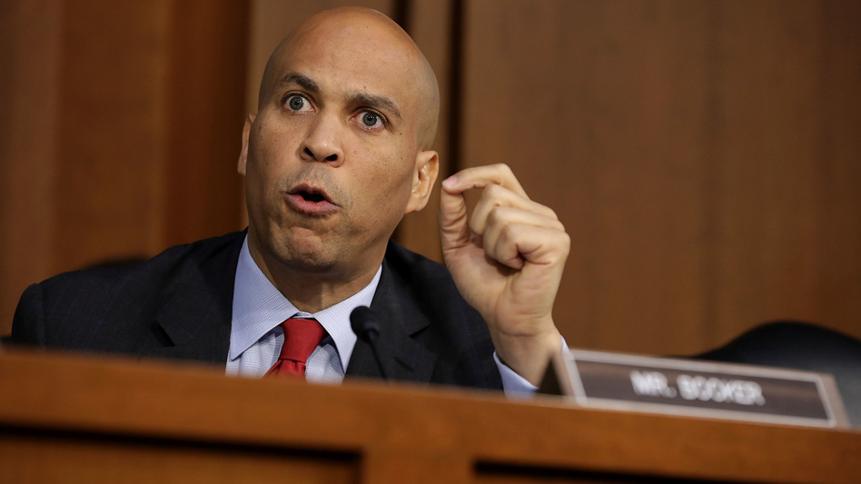Sen. Cory Booker, D-N.J., argues with Republican members of the Senate Judiciary Committee during the third day of Supreme Court nominee Judge Brett Kavanaugh's confirmation hearings on Thursday. (Chip Somodevilla/Getty Images)