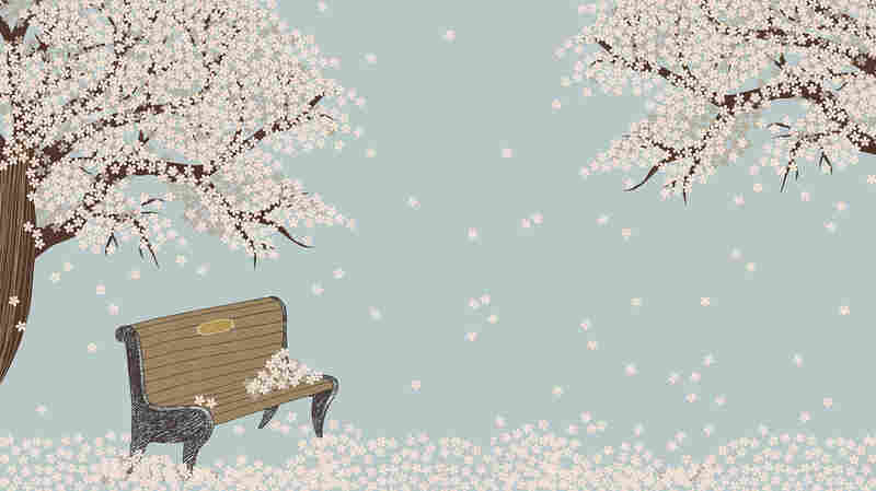 Bench and blooming tree artwork.