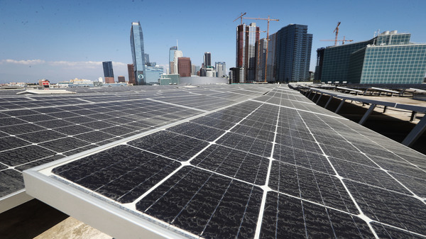 Solar panels are mounted on the roof of the Los Angeles Convention Center on September 5. The state
