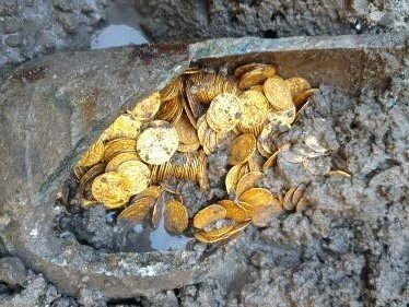 Hundreds Of Roman Gold Coins Found In Theater Basement : NPR