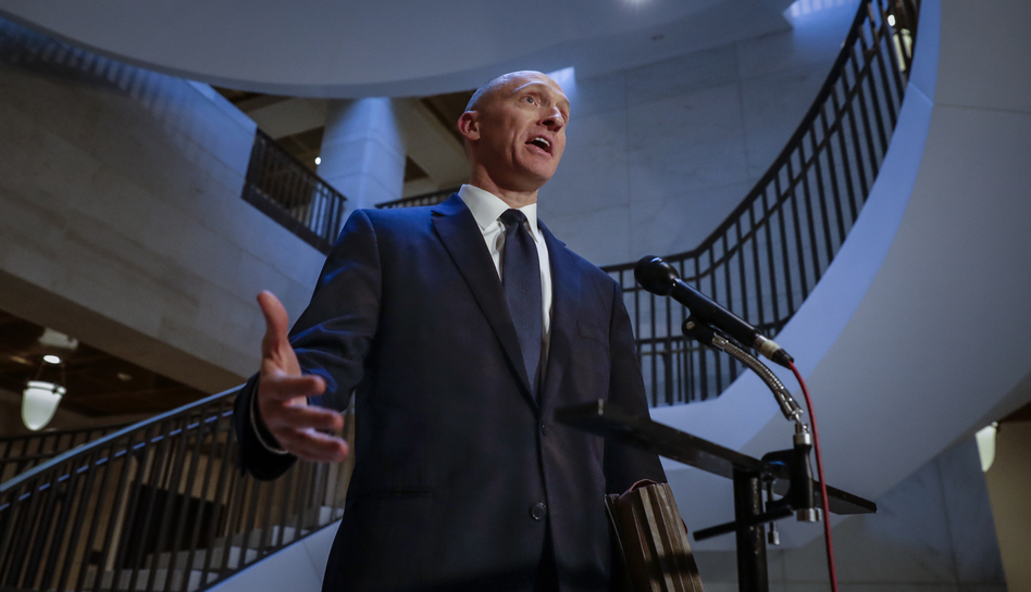 Carter Page, a foreign policy adviser to Donald Trump's 2016 presidential campaign, spoke with reporters following a day of questions from the House intelligence committee in November 2017. (J. Scott Applewhite/AP)