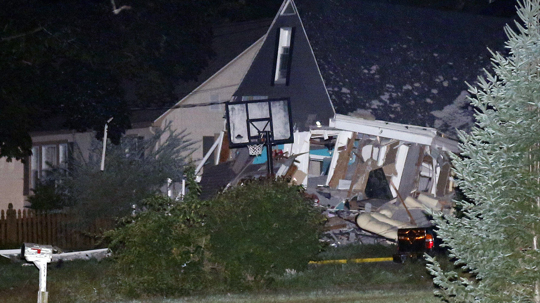 A house in Lawrence, Mass., is destroyed.
