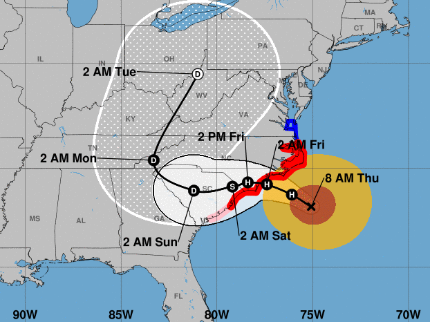Weakening winds from Hurricane Florence approach the Carolinas