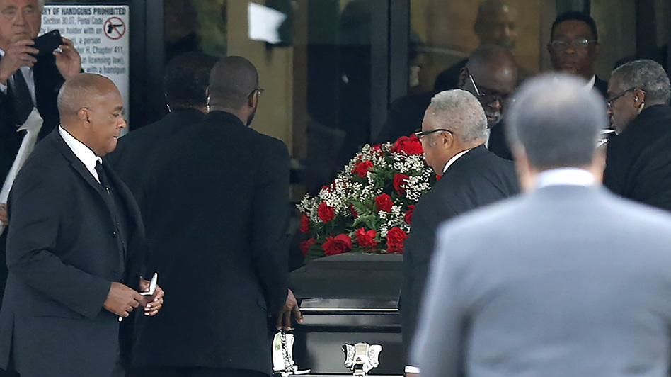The casket carrying Botham Shem Jean arrives at Greenville Avenue Church of Christ Thursday in Richardson, Texas.