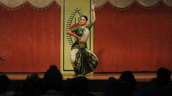 Accompanied by Carnatic music, Indian classical dancer Rama Vaidyanathan performs a Bharat Natyam classical dance at a school in Amritsar in 2011.