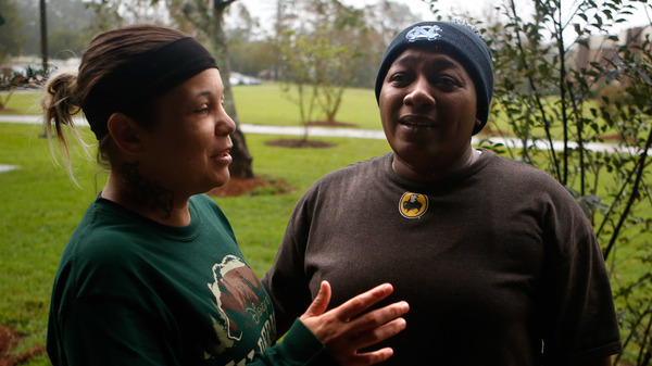 Candace and Lawanda Jones are taking shelter at Conway High School in Conway, S.C.