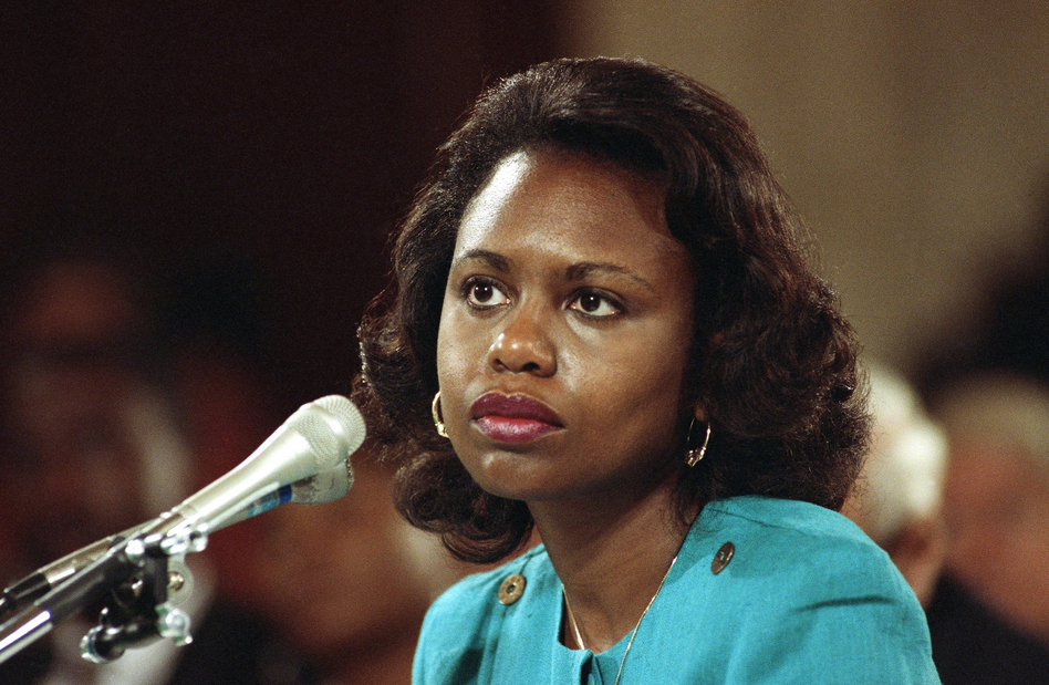 Anita Hill, then a professor at the University of Oklahoma law school, testifies in 1991 that she was sexually harassed by then-Supreme Court nominee Clarence Thomas. (AP)