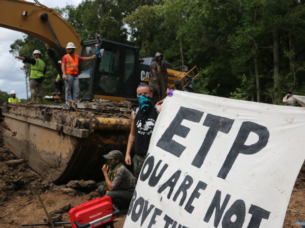 Protesters disrupt construction of the Bayou Bridge Pipeline in early September. Trespassing near pipelines is now a felony offense in Louisiana, punishable by up to five years in prison.