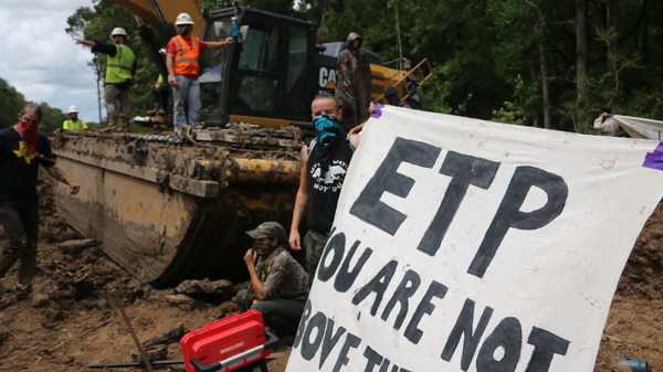 Protesters disrupt construction of the Bayou Bridge Pipeline in early September. Trespassing near pipelines is now a felony offense in Louisiana, punishable by up to five years in jail.