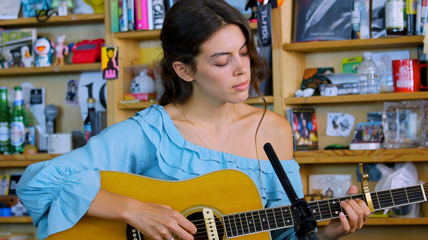 Julie Byrne performs a Tiny Desk Concert on Sept. 5, 2018 (Morgan Noelle Smith/NPR).