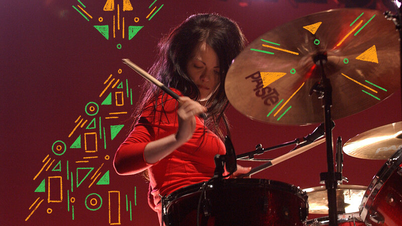 Meg White Playing the drums