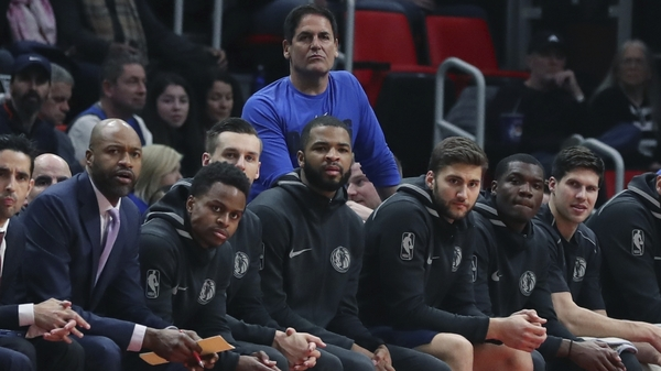 Dallas Mavericks owner Mark Cuban looks on during a game against the Detroit Pistons in April.