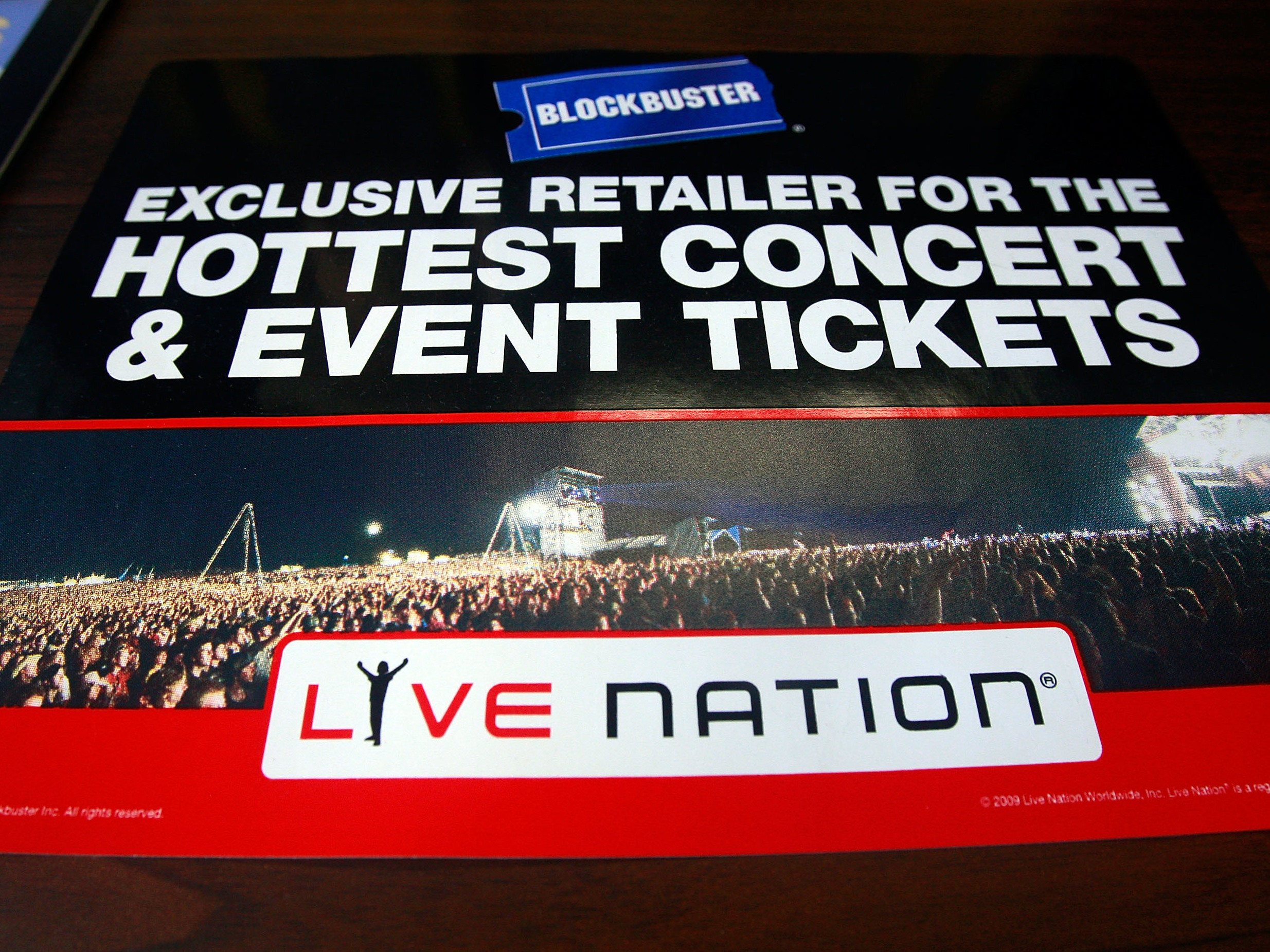 A 2009 Blockbuster sign advertising Live Nation's ticket sales publicized shortly before the latter company's merger with Ticketmaster