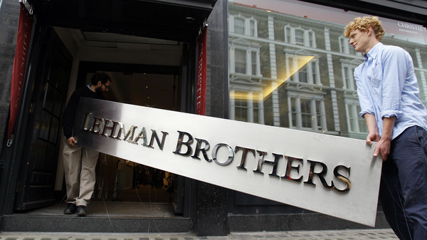 The corporate sign of the defunct Lehman Brothers heads for auction in London, September 2010.
