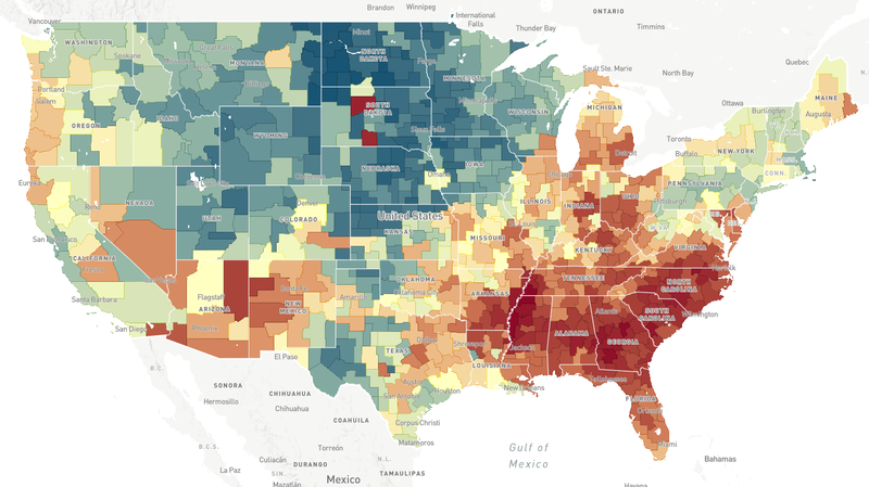 The american dream is harder to find in some neighborhoods npr this map a screenshot from the opportunity atlas shows household income in 2014 2015 for people born between 1978 and 1983 to low income parents gumiabroncs Images