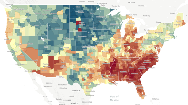 This map, a screenshot from The Opportunity Atlas, shows household income in 2014-2015 for people born between 1978 and 1983 to low-income parents. In areas that are more red, people who grew up in low-income households tended to stay low-income. In areas that are more blue, people who grew up in low-income households tended to make more money.