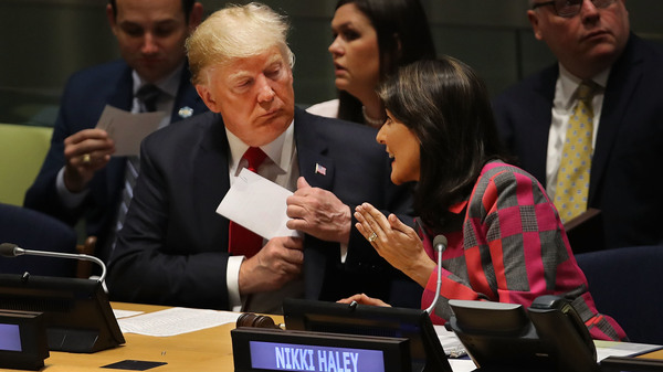 President Trump attends a meeting on the global drug problem at the United Nations with U.N. Ambassador Nikki Haley a day ahead of Tuesday