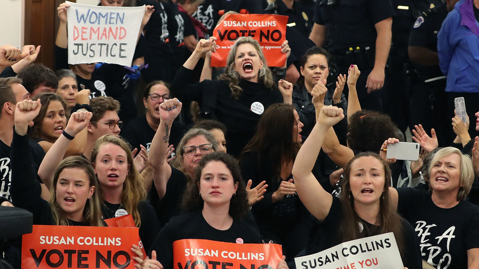 Demonstrators gather on Capitol Hill at the office of GOP Sen. Susan Collins of Maine to protest the nomination of Supreme Court nominee Judge Brett Kavanaugh. (Mark Wilson/Getty Images)