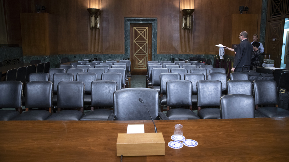 The Senate Judiciary Committee hearing room is prepared for Thursday's planned testimony from Christine Blasey Ford on Capitol Hill. (J. Scott Applewhite/AP)