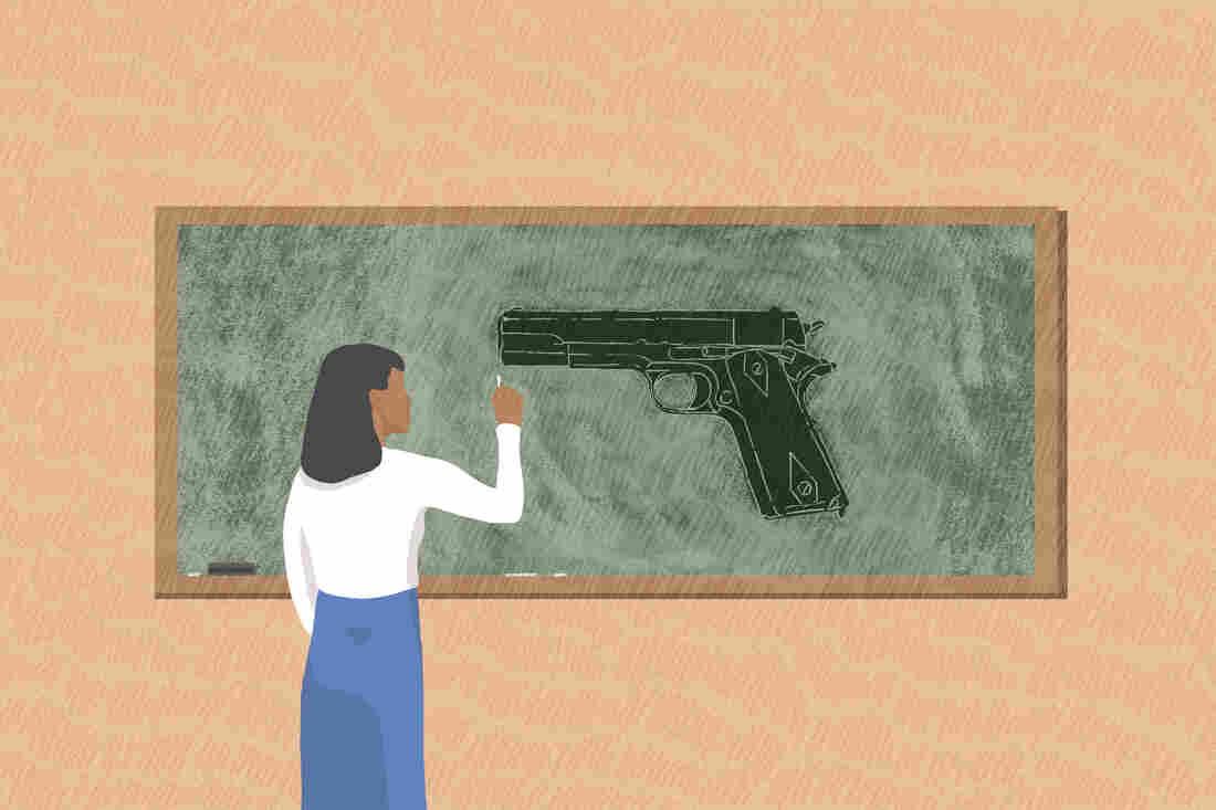 A teacher draws a handgun on the chalkboard.
