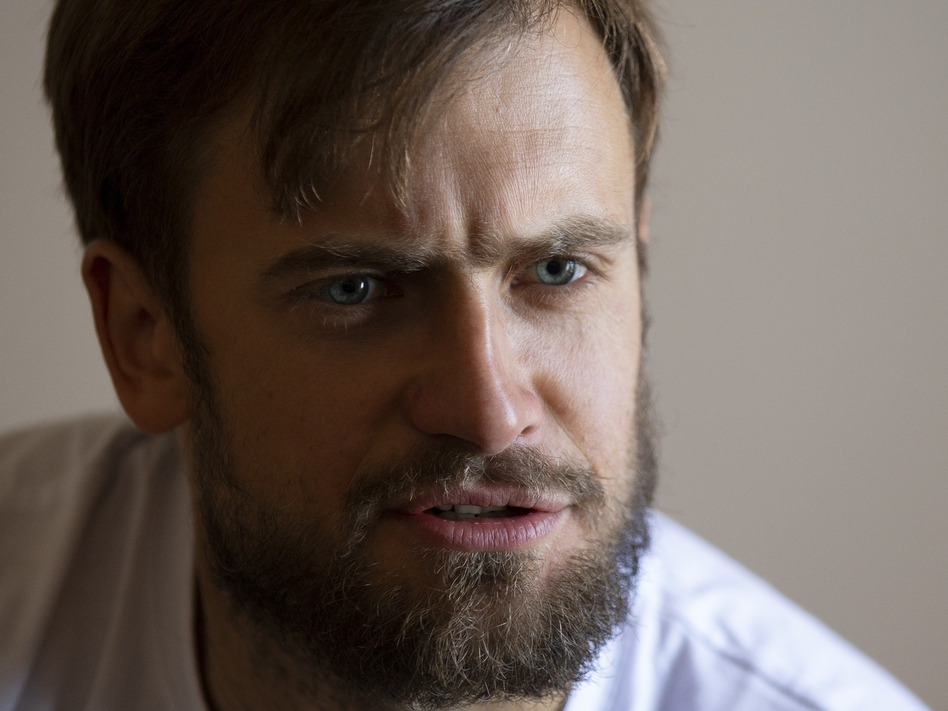 Pyotr Verzilov, a member of the feminist protest group Pussy Riot, photographed during an interview with The Associated Press in Moscow, in early September. (Alexander Zemlianichenko/AP)