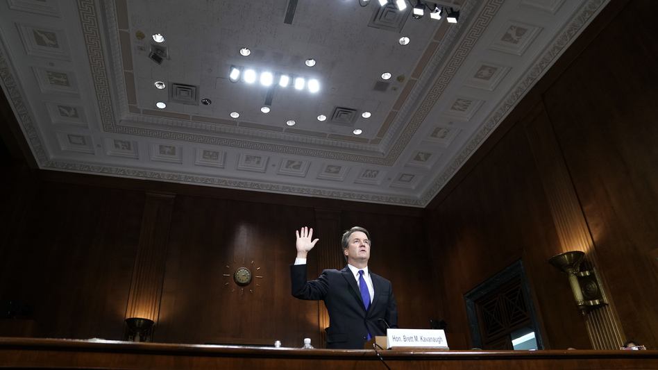 Supreme Court nominee Judge Brett Kavanaugh testifies before the Senate Judiciary Committee on Thursday on Capitol Hill in Washington, D.C. (Pool/Getty Images)