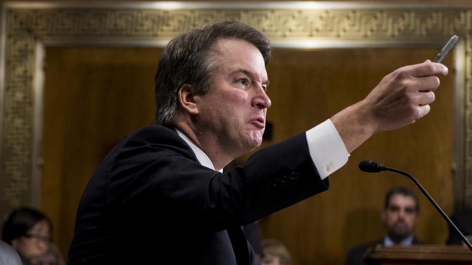 Judge Brett Kavanaugh testifies before the Senate Judiciary Committee on Capitol Hill Thursday. Christine Blasey Ford, who testified before the committee earlier in the day, accused Kavanaugh of sexually assaulting her during a party in 1982 when they were high school students in suburban Maryland. (Tom Williams/Getty Images)