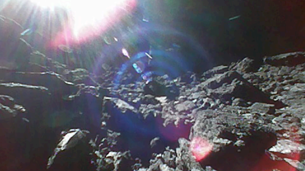 A still from a 15-frame movie captured by one of the MINERVA-II1 rovers on the surface of asteroid Ryugu last week.