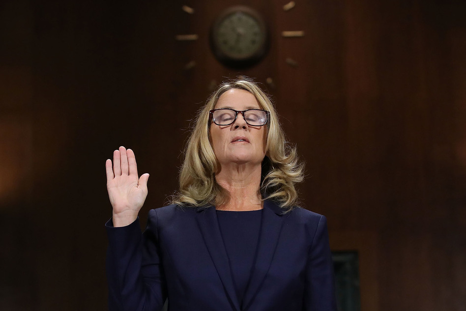 Christine Blasey Ford is sworn in ahead of testifying before the Senate Judiciary Committee on Thursday. (Win McNamee/Getty Images)