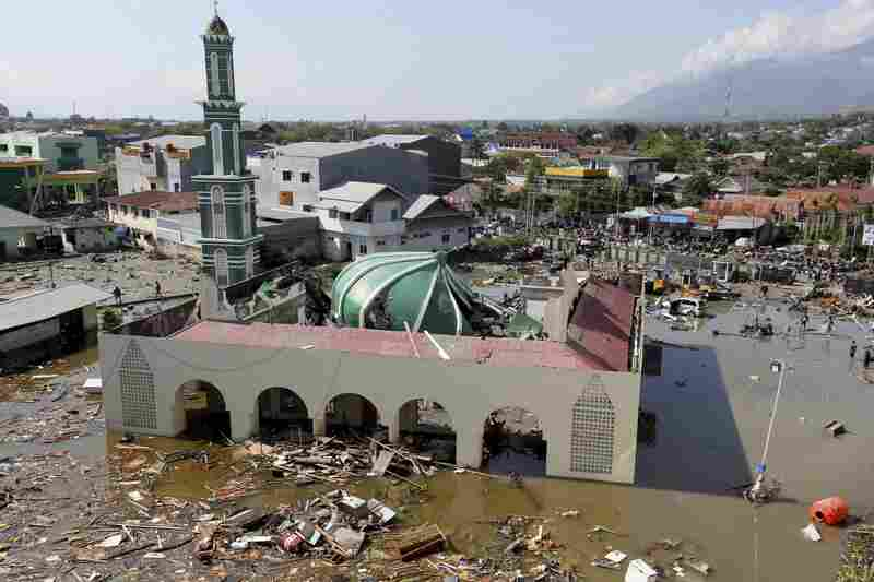 A damaged mosque in Palu. The U.N. Office for Disaster Risk Reduction says up to 1.6 million people could be affected by the earthquake.