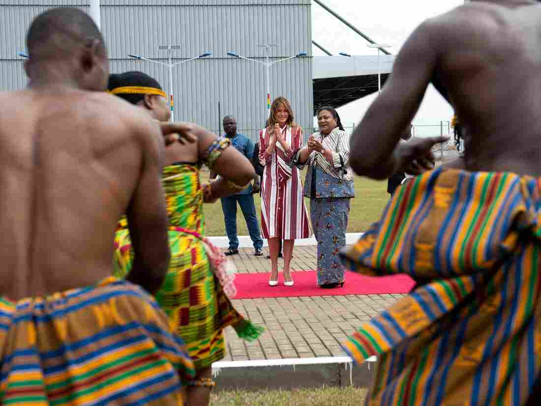 Melania Trump meets over tea with Ghana's first lady, visits baby clinic