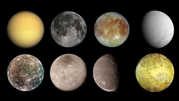 (Top row, from left) Titan, Earth