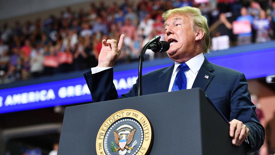 """President Trump speaks during a """"Make America Great Again"""" rally at Landers Center in Southaven, Miss., on Tuesday night. (Mandel Ngan/AFP/Getty Images)"""
