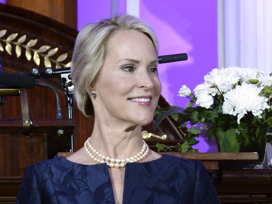 Biochemical engineer Frances Arnold receives the Millennium Technology Prize 2016 during the awards ceremony in Helsinki, Finland. Arnold, an American, shares this year's Nobel Prize in Chemistry with two others, another American, George P. Smith and the U.K.'s Sir Gregory P Winter. (Heikki Saukkomaa/Lehtikuva via AP)