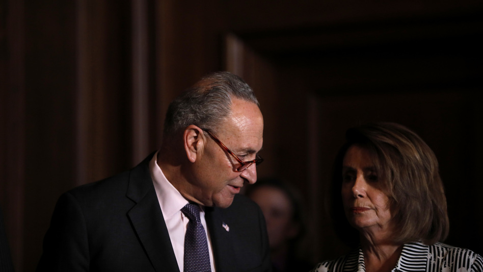 Democrats, led by Senate Minority Leader Chuck Schumer and House Minority Leader Nancy Pelosi, have been hopeful about making big gains in the midterm elections, but a new NPR/PBS NewsHour/Marist poll shows Republican enthusiasm surging. (Aaron P. Bernstein/Getty Images)
