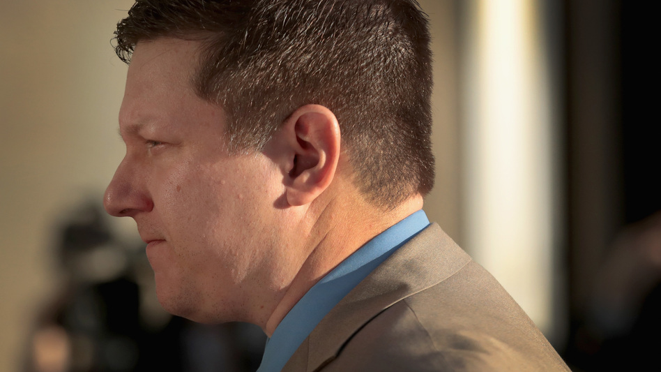 Officer Jason Van Dyke, seen outside a Chicago court last month, shot teenager Laquan McDonald 16 times in 2014. (Scott Olson/Getty Images)