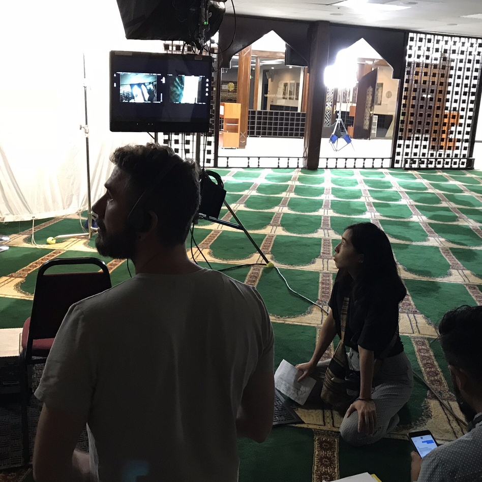 On the set of <em>East of La Brea</em> at the Islamic Center of Southern California. The Web series, which focuses on two Muslim-American women, is one of a new crop of shows featuring Muslim characters. (Leila Fadel/NPR)