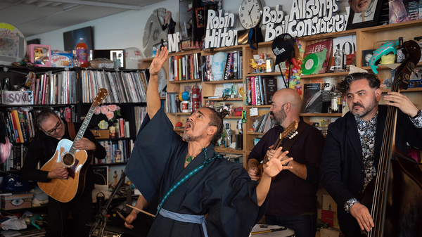 Café Tacvba perfroms a Tiny Desk Concert on September 24, 2018. (Cameron Pollack/NPR)
