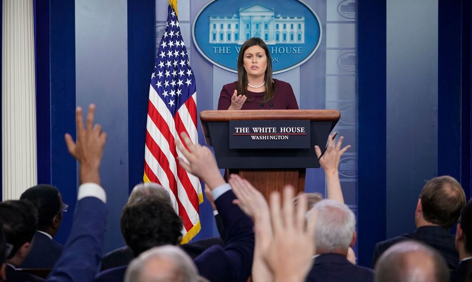 White House press secretary Sarah Sanders' appearances at the once-daily briefings have become fewer and farther between. (Mandel Ngan/AFP/Getty Images)