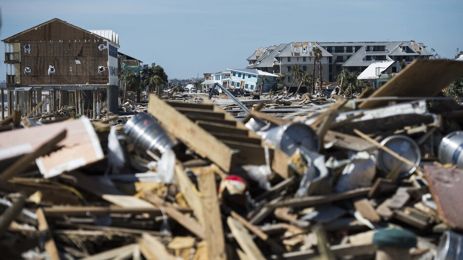 Destroyed homes and debris are seen near Port St. Joe, Fla., on Friday, two days after Hurricane Michael hit the Florida panhandle. Analysts estimate the storm has caused billions of dollars of damage. (Andrew Caballero-Reynolds/AFP/Getty Images)