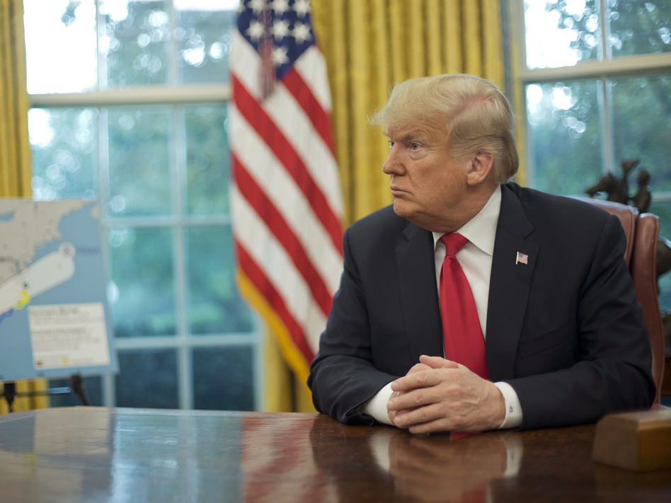 President Trump, shown in the Oval Office at the White House earlier this month, appeared on Sunday's <em>60 Minutes</em>. (Pablo Martinez Monsivais/AP)
