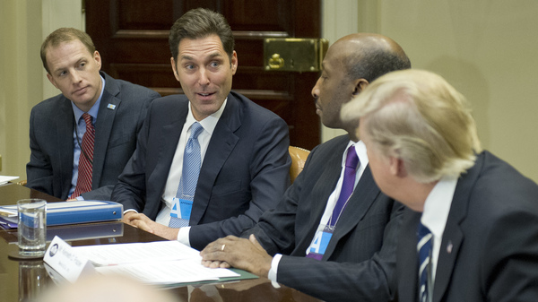 President Trump listens in January as Stephen Ubl, president and CEO of Pharmaceutical Research and Manufacturers of America (second from left), introduces himself during a meeting at the White House. The sky-high prices of some drugs are a big issue for some voters this fall.