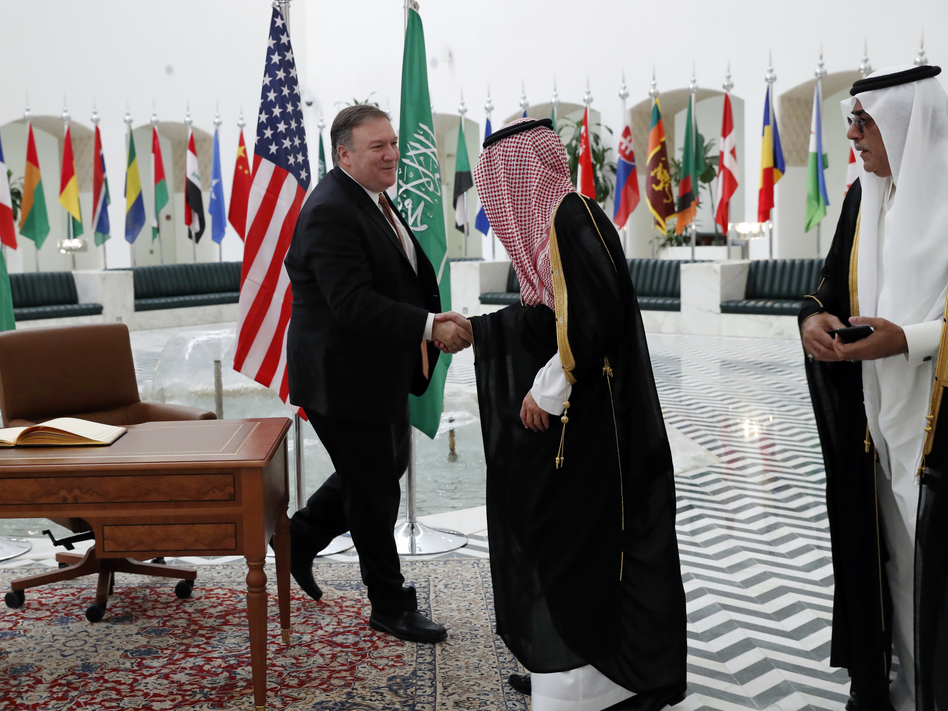 Secretary of State Mike Pompeo shakes hands with Saudi Foreign Minister Adel al-Jubeir in Riyadh, Saudi Arabia, on Tuesady. (Leah Mills/AP)