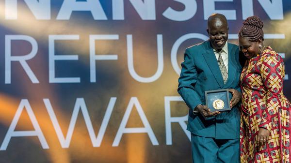 Evan Atar Adaha, surgeon and medical director at a hospital in South Sudan, accepts the U.N.