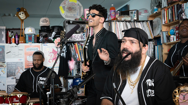 Chromeo performs a Tiny Desk Concert on September 26, 2018. (Cameron Pollack/NPR)