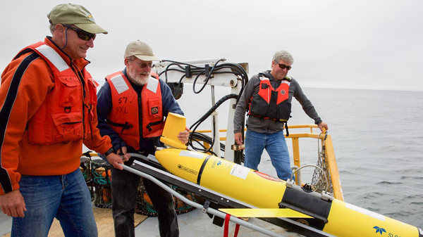 """Oregon State University oceanographer Jack Barth deploys a glider that will spend weeks at sea collecting data on everything from dissolved oxygen levels to temperature. """"When we used to think about hypoxia in the ocean, we think about little areas. But now what we"""